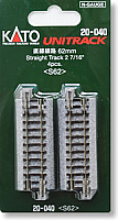 "Kato Unitrack 20-040 N Scale Straight Track 2-7/16"" 62mm 4PCS-S62"