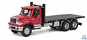 Walthers SceneMaster HO 11652 International(R) 7600 Flatbed Truck Red Cab w/ Black Flatbed