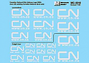 Microscale Railroad Decal Set Canadian National -Web Addresses Grey