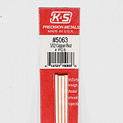 K&S Engineering 5063 All Scale - 12 inch Long Round Copper Rod - 3/32 inch Diameter (4 pkg)