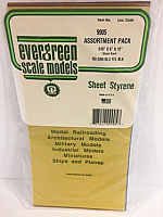 Evergreen Scale Models 9905 - .010in Combo Transparent Polystyrene Sheet Pack (5 Sheets)
