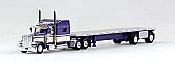 Tucks N Stuff 18TNS007 HO Peterbilt Sleeper With Flatbed Purple With Beige Stripe