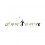 Noch 15748 - HO Sheep (7), Shepherd & Dog
