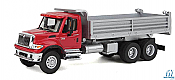 Walthers SceneMaster HO 11662 International(R) 7600 3 Axel Hvy-Dty Dump Truck with Red Cab Silver Body