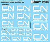 Microscale MC-4339 HO Scale - Diesel & Freight Car CN - New Web Address Logo. Various Sizes (WHITE) - Waterslide Decal