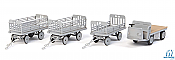 Walthers SceneMaster 4141 HO - Baggage Tractor and Trailers - Kit