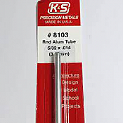 K&S Engineering 8103 All Scale - 5/32 inch OD Round Aluminum Tube 0.014inch Thick x 12inch Long