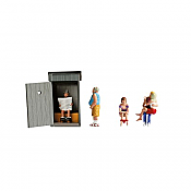 Noch 15560 - HO Outhouse w/ Toilet Sitters, Man Standing, Kissing Couple