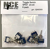 NCE 303 - TS6S On/On SPST Toggle Switch - 125Volts - 5Amps (6pk)