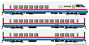 Rapido 25002 - HO Rohr Turboliner - DC/ Silent - Amtrak Phase 3 (early) - set #3