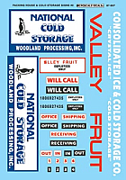 Microscale 87-807 HO Scale - Packing House & Cold Storage Signs #2, (1970+) Packing House & Cold Storage - Waterslide Decal