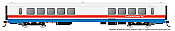 Rapido 25103 - HO Rohr Turboliner - DC/ Silent - Amtrak Phase 3 (early) -Food Service Coach #183