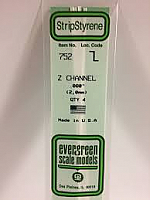 Evergreen Scale Models 752 - Opaque White Polystyrene Z Channel .080In x 14In (4 pcs pkg)