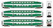 Rapido 146016 HO - BiLevel Commuter Car - TriRail - Set #2