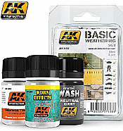 AK Interactive 688 BASIC WEATHERING SET - 3 Bottles - 35ml each