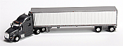 Trucks n Stuff American Tractor/Trailer Peterbilt T700 Day Cab w/53 Ft Reefer Van Trailer (Grey, Chrome Trailer)
