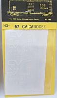 CDS Lettering 67 HO Scale - CV wood or steel caboose - modern CV logo - Dry Transfer Lettering Sets - White