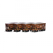 Athearn RND87122 HO - 24Ft Ribbed Ore Car w/Load - DM&IR (4 pkg) #3
