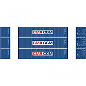 Athearn 27158 - HO 40ft Low-Cube Container - CMA-CGM (3/pkg)
