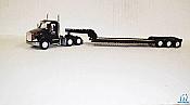 Trucks n Stuff TNS086 HO Peterbilt 579 Sleeper-Cab Tractor w/ 3-Axle Lowboy Trailer-Black Jack Trucking