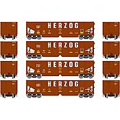 Athearn 14271 HO RTR 40ft OB Ballast Hopper/Load Herzog 4pk Set 1
