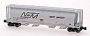 Intermountain Railway Z Scale Cylindrical Covered Hopper w/Trough Hatch - Ready to Run National de Mexico (gray, large logo, Unir Servir Slogan)
