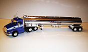 Trucks n Stuff TNS093 HO Peterbilt 579 Day-Cab Tractor with Gas Tank Trailer - Assembled -- Kenan Advantage (blue, red, white, chrome)