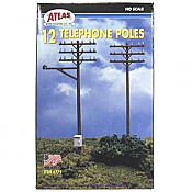 Atlas 150-775 HO Scale 12 Telephone Poles Kit