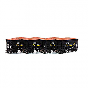 Athearn RND87142 HO - 24Ft Ribbed Ore Car w/Load - LS&I (4 pkg) #2