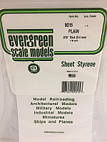 Evergreen Scale Models 9015 - .015in Plain Opaque White Polystyrene Sheet (3 Sheets)