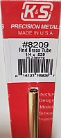 K&S Engineering 8209 All Scale - 1/4 inch OD Round Brass Tube - 0.029inch Thick x 12inch Long