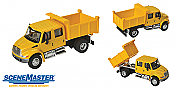 Walthers 11632 HO SceneMaster International(R) 4300 Crew Cab Dump Truck - Assembled - Yellow