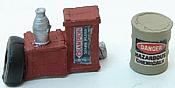 JL Innovative Design 438 HO Custom Gas Station Junk Pile & Hazardous Material Barrel - Set 1