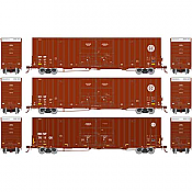 Athearn 75133 HO Scale - RTR 60Ft Gunderson DD Hi-Cube Box - BNSF/Wedge (3 pack)