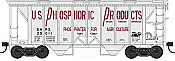 Bowser HO 42247 70-Ton 2-Bay Coverde Hopper with Open Sides -   US Phosphoric Products SHPX 25049