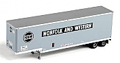 Trainworx 80327-03 HO 40' Hi-Cube Drop-Frame Smooth-Side Van Semi Trailer - Norfolk & Western NWZ #208719