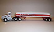 Trucks n Stuff TNS103 HO Peterbilt 579 Day-Cab Tractor with Propane Tank Trailer - Assembled -- Suburban Propane (white, red)