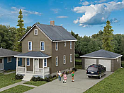 Walthers 3792  Cornerstone HO Two-Story House w/Garage