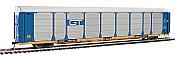 WalthersProto 101337 HO - 89ft Thrall Bi-Level Auto Carrier - Ready To Run - Grand Trunk Western Rack, TTGX Flatcar #88130/160139
