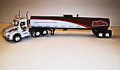 Trucks n Stuff TNS063 HO Peterbilt 579 Day-Cab Tractor with Food-Grade Trailer - Assembled -- Dillon (white, brown, red)