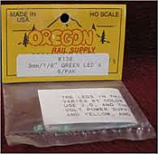 Oregon Rail Supply No.138 3mm-1/8 Green LEDs 6 Pack
