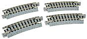 Kato Unitrack 20-101 - N Scale Curved Track - 15-degree Radius - 9-3/4in Radius-(4/pkg)