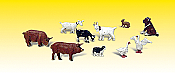 Woodland Scenics 2202 - N Scenic Accent Figures - Barnyard Animals (10/pkg)