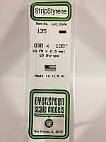 Evergreen Scale Models 135 Opaque White Polystyrene Strips 14in .03x.10 (10pcs pkg)