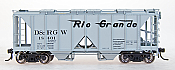 Intermountain 48602-12 HO 1958 Cu Ft 2 Bay Covered  Hopper- Open Sides- D&RGW #18423