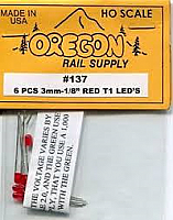 Oregon Rail Supply 6 PCS 3mm-1/8 Red T1 LEDs