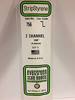 Evergreen Scale Models 756 - Opaque White Polystyrene Z Channel .188In x 14In (3 pcs pkg)