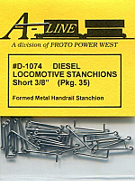 A Line D-1074 Diesel Locomotive Stanchions Short 3/8 in Pkg 50