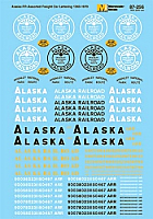 Microscale 87256 HO Scale - Alaska Railroad Freight Cars (1960s-1970s) - Waterslide Decal