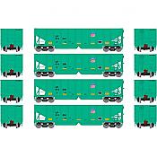 Athearn 14253 HO RTR 40ft OB Ballast Hopper/Load UP Set 2  4Pk